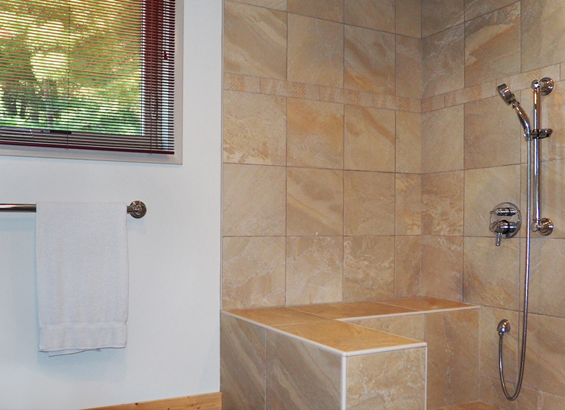 floor-to-ceiling tile shower